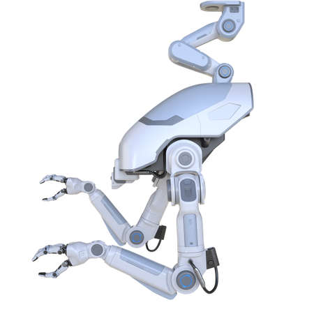 Sci - Fi Industrial robotic arms isolated on the white 版權商用圖片