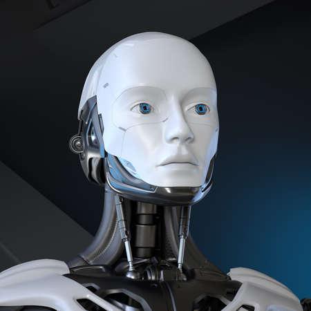 Android Robot's portrait. 3D illustration 版權商用圖片