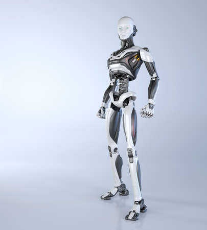 Robot android posing on a light gray background. 3D illustration