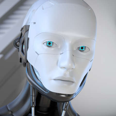 Android Robot's head close-up. 3D illustration