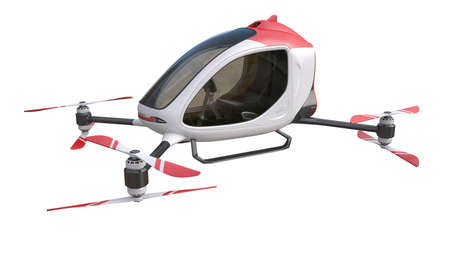 Generic Electric Passenger Drone on white background. This is a 3D model and doesn't exist in real life. 3D illustration 版權商用圖片