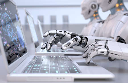 Robots working with laptops. 3D illustration