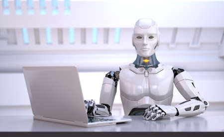 Humanoid robot sitting behind table. Head hunter. Office manager. 3D illustration
