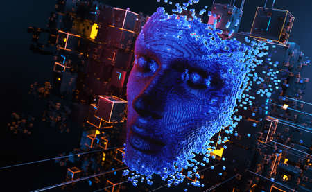 Face consisting of blocks. Artificial intelligence concept. 3D illustration
