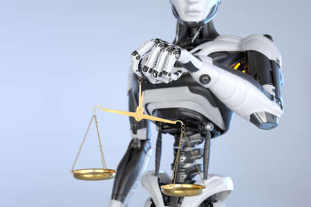 Robot android holding a Scales of Justice. 3D illustration
