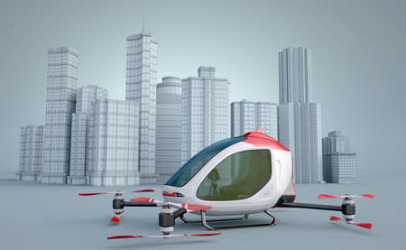 Passenger Drone in front of a buildings. This is a 3D model and doesn't exist in real life. 3D illustration 版權商用圖片