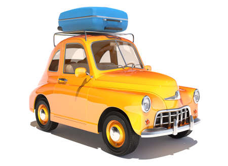 Retro cartoon car with laggage on top isolated on white. 3D illustration