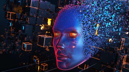 Head consisting of blocks. Artificial intelligence concept. 3D illustration 版權商用圖片
