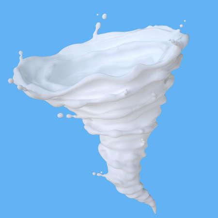 Milk in form of tornado. 3D illustration