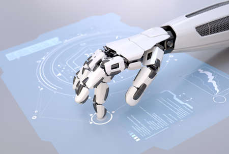 Robot's hand working with futuristic touchscreen. 3D illustration