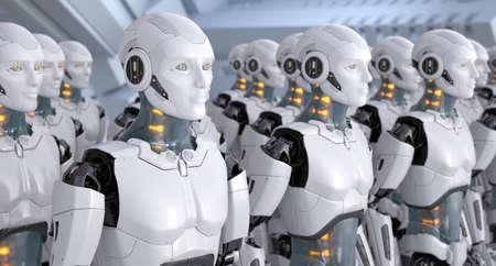 Crowd of robots. 3D illustration 版權商用圖片