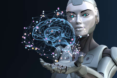 Robot with artificial intelligence. 3D illustration