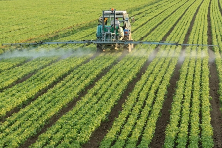 farm machinery: farming tractor spraying a field