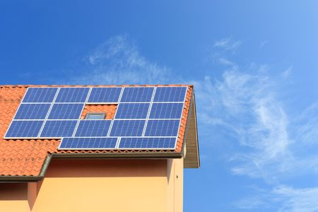 photovoltaic solar panels on a roof photo