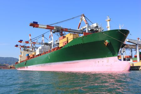 Large container ship in a dock under cranes Stock Photo - 7440310