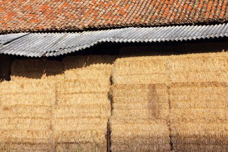 Bundle of hay in a hayloft photo