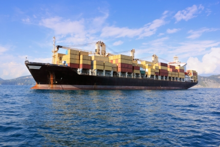 container ship outside harbor Stock Photo - 7946178