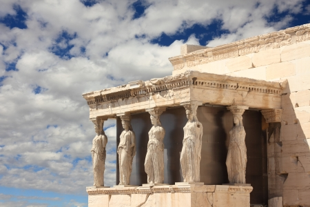 caryatids: Caryatid Porch of Erechtheum at Acropolis, Athens, Greece