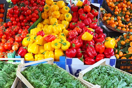 colourful peppers and tamato in vegetable and fruit market Stock Photo - 8295186