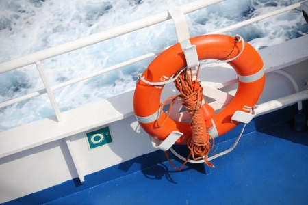 Life buoy on a ferry boat during navigation photo