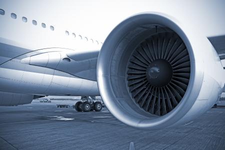 turbin: engine of passenger airplane waiting in airport