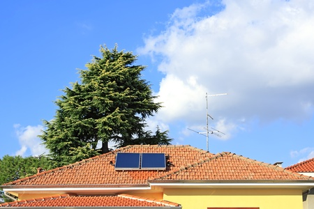 Solar panels, collectors for hot water production photo