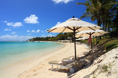 Beach Chairs and Umbrellas on a sunny beach in tropical island photo