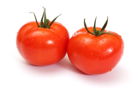 tomato plant: Two Red Tomatoes on white background