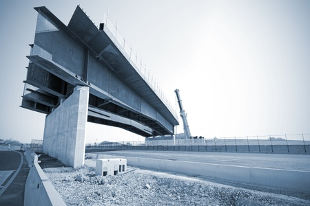 flyover: Construction site on highway, bridge under construction Stock Photo
