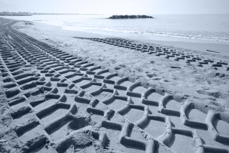 Bulldozer tracks on the beach photo