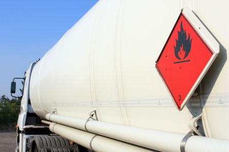 fuel and flammable liquid tanker truck photo