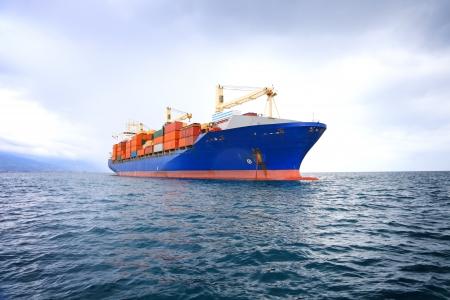 commerciële containerschip met dramatische hemel