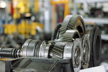mechanical engineering: metal gear wheels in workshop