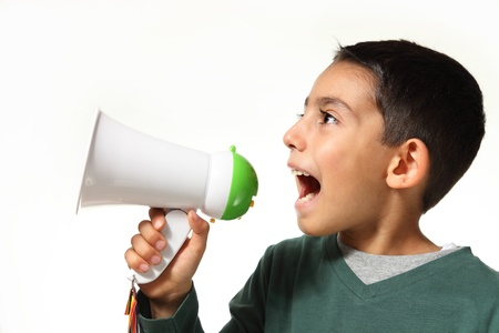 kid yelling through a megaphone on white background