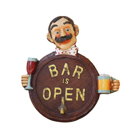 vintage bar sign isolated on white background photo