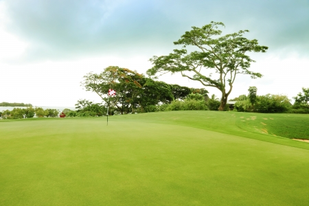 of course: golf field in a cloudy day