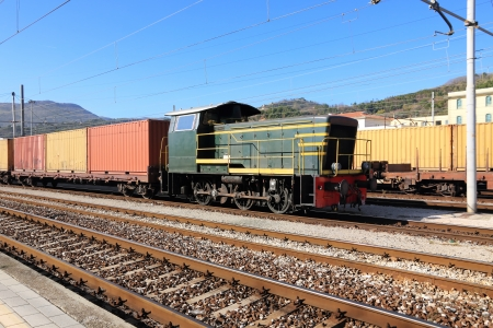 freight train: Freight train on cargo station