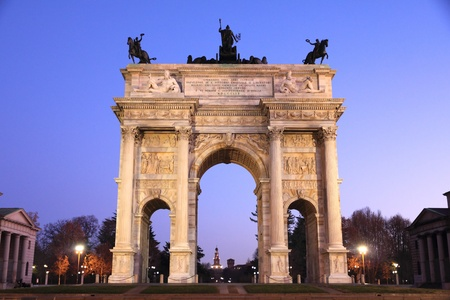 pace: Arco della Pace (Arch of Peace) in Milan, Italy Stock Photo