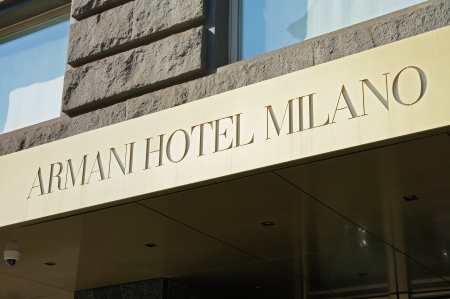 Milan, Italy - March 9, 2012: luxury hotel in the center of Milan, each element has been personally designed by Giorgio Armani