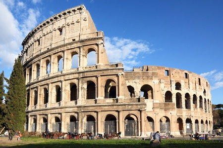 Ancient colosseum amphitheater, Rome, Italy Stock Photo