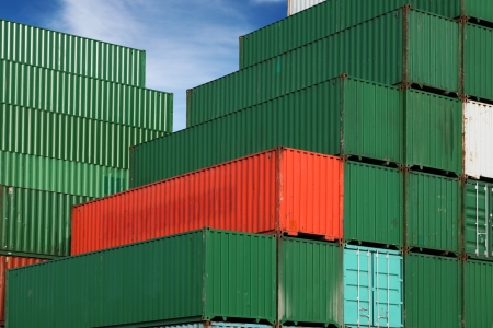 Stack of freight containers at the docks photo