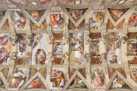 Sixtinische Kapelle Decke im Vatikan, Rom Editorial