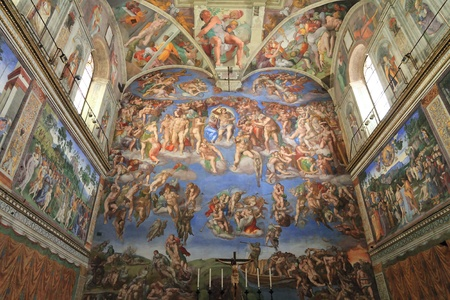 fresco: The Last Judgment by Michelangelo. The Sistine Chapel, Vatican City