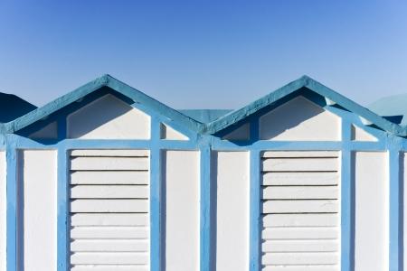 rimini: blue and white wooden beach hut in Rimini, Italy Stock Photo