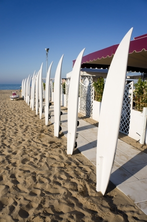 many white surfboard in the sand beach Stock Photo - 14167473