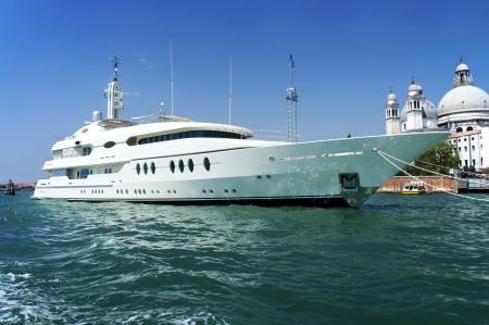 speedboat: Large luxury motor yacht docked in Venice, Italy