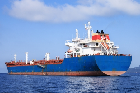 maritime: large blue oil tanker sailing Stock Photo