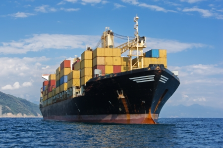 freight: Large container ship Stock Photo