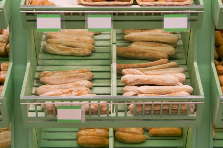 baked products in supermarket or bakery photo