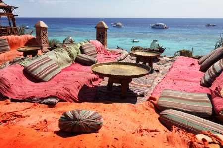 beach bar: lounge and relax area on red sea in sharm el sheikh